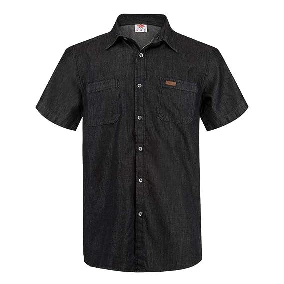acd881b39ab91 Lee Cooper Mens Short Sleeve Denim Shirt 2 Chest Pockets: Amazon.co ...