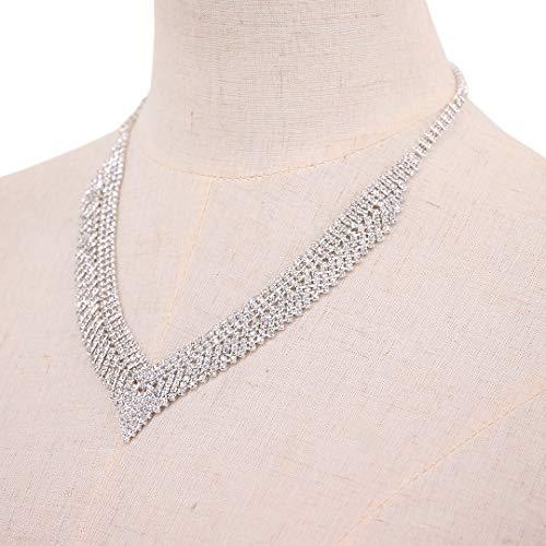 Gabrine Womens Shiny Rhinestone Multilayer Hollow Collar Choker Short Necklace for Wedding Bridal Party Prom(Silver)