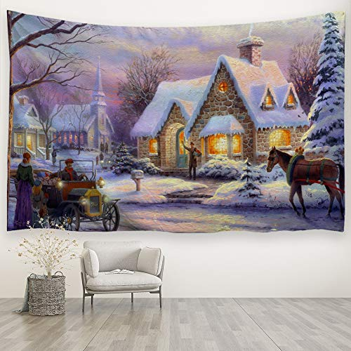 (Baccessor Christmas Tapestries Wall Hanging,Winter Snow Classic Scene Tapestry Oil Painting,Christmas Decor for Living Room, Bedroom, Dorm Room - 90