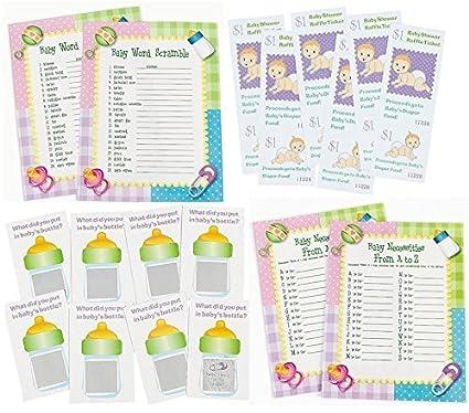 Amazon 96 Pc Baby Shower Game Bundle Word Scramble Baby