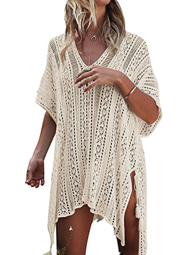(HARHAY Women's Summer Swimsuit Bikini Beach Swimwear Cover up Beige)