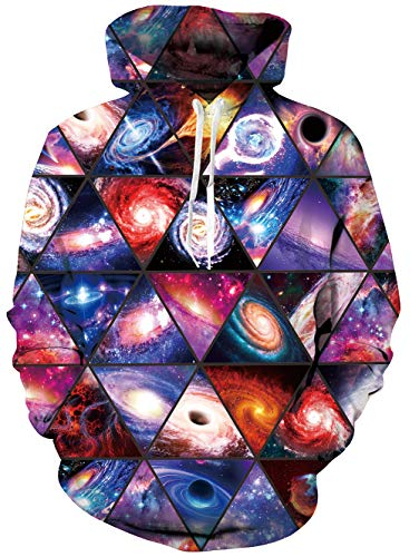 (RAISEVERN Unisex 3D Galaxy Neutron Stars Printed Casual Pullover Long Sleeve Fleece Hooded Sweatshirts,2018 Style Planet,Small)