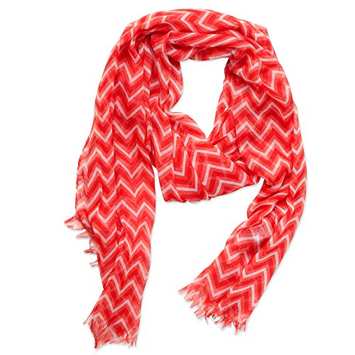 Tickled Pink Women's Game Day Sports Team Apparel Scarf or Wrap, Zigzag Fringed/20x74, 20 x 74 for $<!--$13.99-->