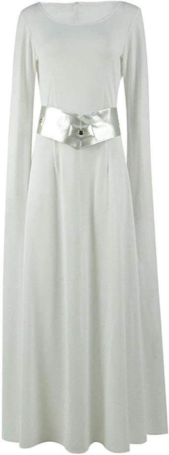Flyer Leia Disfraz de Princesa de Halloween Cosplay Blanco Vestido ...