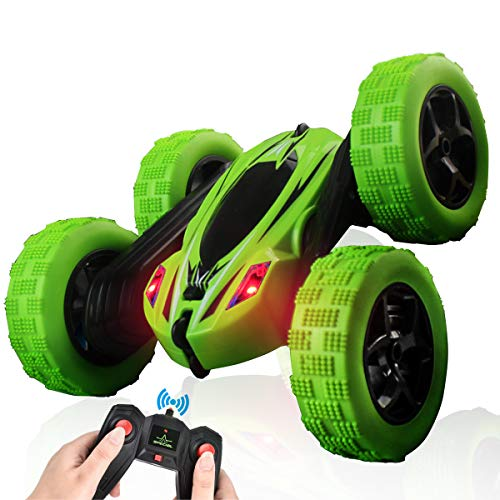 ArgoHome RC Car Remote Control Car RC Stunt Car, 360 Degree Flips Double Sided Rotating Race Car, Remote Controlled Car for Kids, 4WD Monster Truck Tumbling Crawler Vehicle, Best Gift for Kids, Green