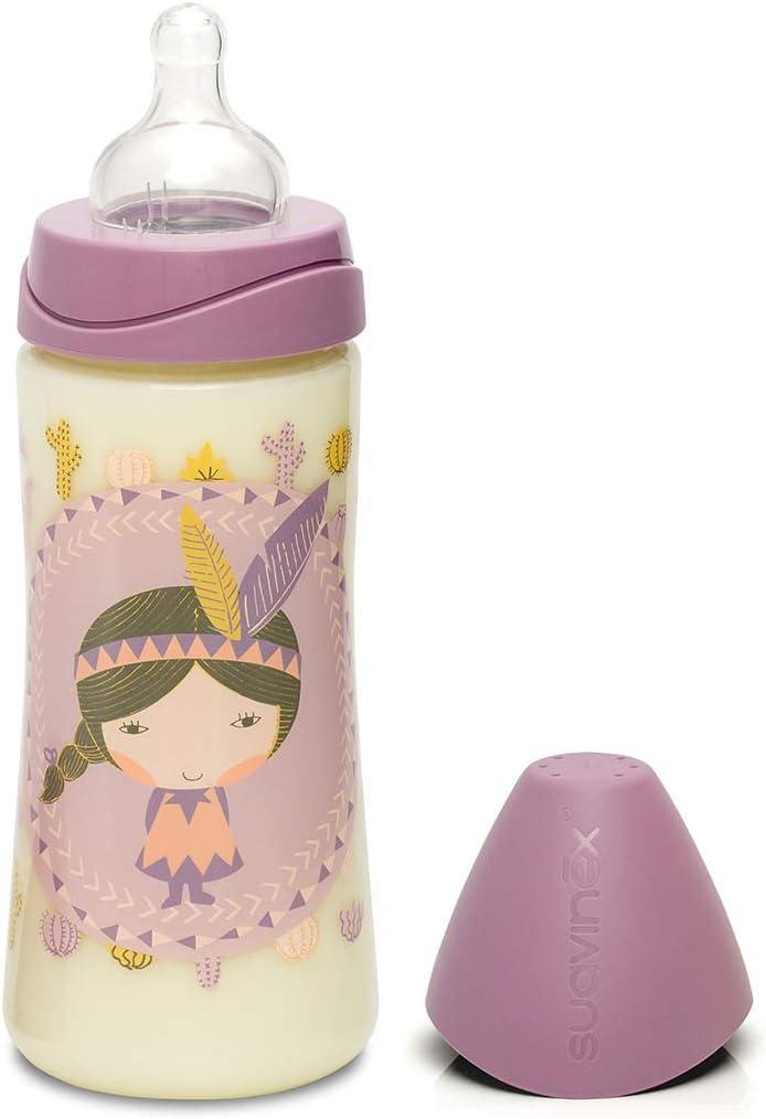 couleur lilas Motif indiens 360/ml /Biberon avec t/étine en silicone pour bouillies Suavinex 303134/