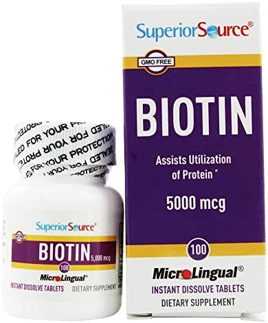 Superior Source - Biotin Instant Dissolve 5000 mcg. - 100 Tablets(Pack of 2)