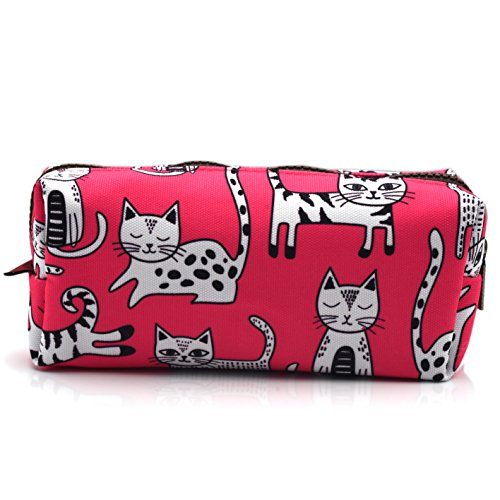 Pink Cat Pencil Case Makeup Bag Cat Lover Gift Crazy Cat Lady Toiletry Case Pouch Gifts for Teens