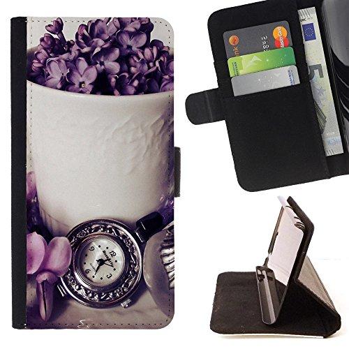 God Garden - FOR Apple Iphone 6 PLUS 5.5 - Pretty Arrangement - Glitter Teal Purple Sparkling Watercolor Personalized Design Custom Style PU Leather Case Wallet Fli