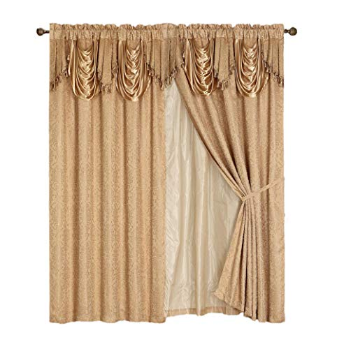 Luxury Dallas Jacquard Panel with attached valance 120