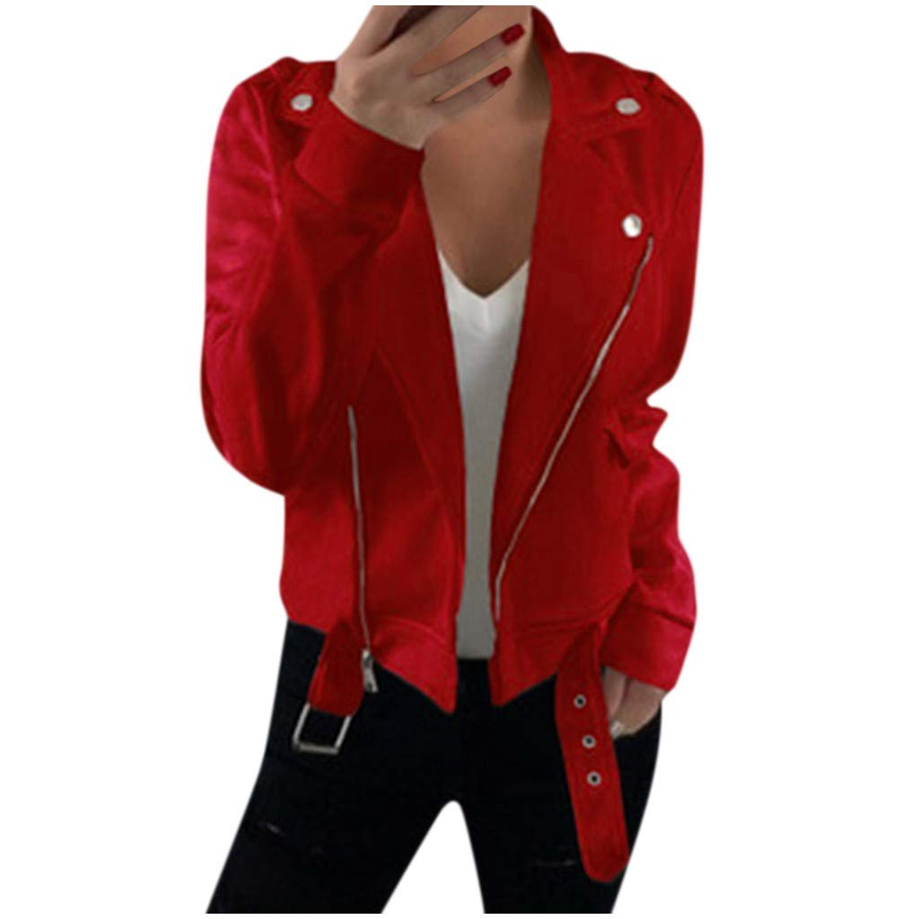 Jackets for Women Ladies Long Sleeve Slim Fit Jackets Coat Retro Lapel Zipper Short Cardigan Suit Chaofanjiancai Red by Chaofanjiancai_Coat