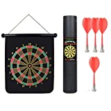 Darts Dartboards, PeleusTech 12inches Magnetic Roll-up Dart Board Double Sided Hanging Dart Game Four Darts Set with Carry Box