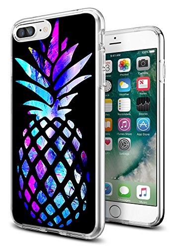 Pineapple Cases for iPhone 8 Plus/for iPhone 7 Plus,Gifun [Anti-Slide] and [Drop Protection] Clear Soft TPU Protective Case for iPhone 8 Plus/for iPhone 7 Plus- Brightly Colored Marble Pineapple