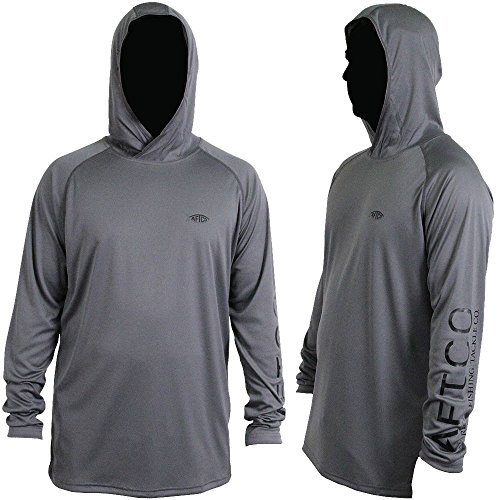 AFTCO Samurai Hooded Performance Long Sleeve Shirt - Charcoal - Large