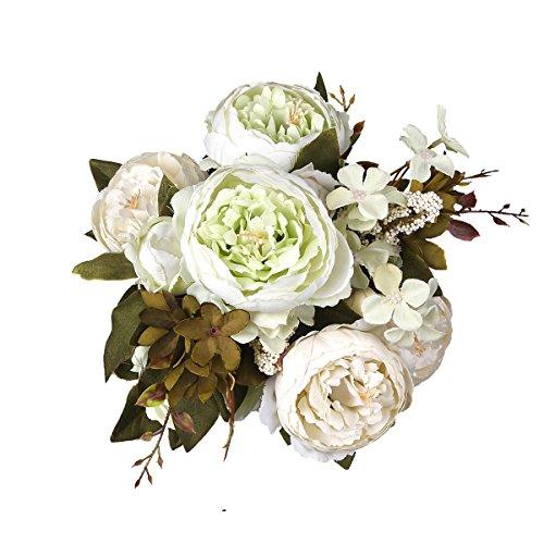 (Shengyuan Artificial Flowers Fake Silk Peony Flower Bouquet Floral Plants Decor for Home Garden Wedding Party Decor Decoration,White)