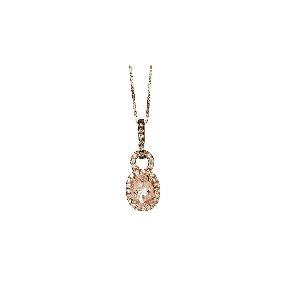 Gin and Grace 14k Rose Gold Morganite 1/5ct TDW Brown and White Diamond Necklace (G-H, I1-I2)
