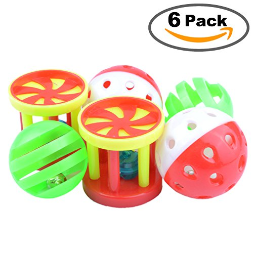 6 Pack Parrot Food Toys Chewing Playing Training Bell Ball Bird Cage Treat Toy for Cockatiel Parakeet Cat Conure by pranovo