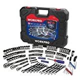 WORKPRO 164-piece Mechanics Tool Kit - Black Oxide Coating Drive Socket Set with 1/4