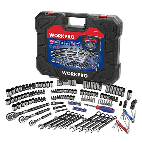 WORKPRO 164-piece Mechanics Tool Kit - Black Oxide Coating Drive Socket Set with 1/4