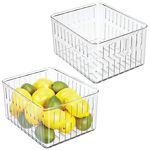 mDesign Plastic Kitchen Refrigerator Produce Storage Organizer Bin with Open Vents for Air Circulation - Food Container for Fruit, Vegetables, Lettuce, Cheese, Fresh Herbs, Snacks - XL, 2 Pack - Clear ()