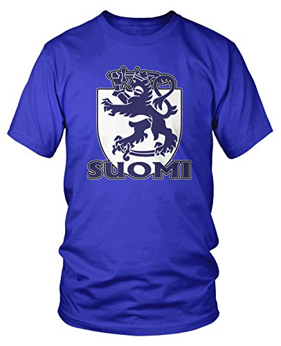 Amdesco Men's Suomi, Finland Lion with Crown and Sword T-Shirt, Royal Blue XL (Coat Of Arms Finnish)