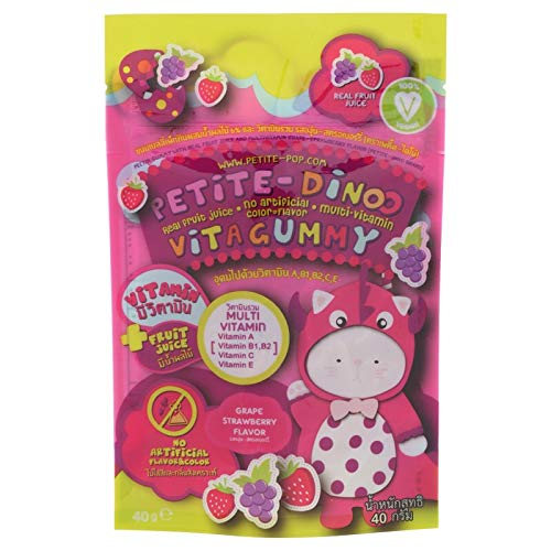 Sinto shop 1pack Multivitamin Pectin Gummy Grape and Strawberry Flavor 40g.[Petite Dinoo]