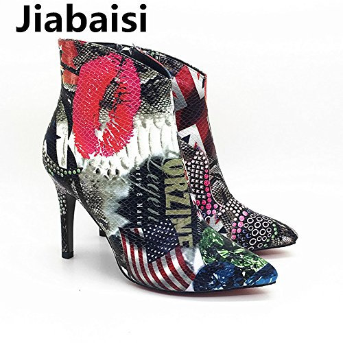 Jiabaisi shoes womens Red Lips Pointed Toe Platform beveling boots ankle boots beveling Graffiti DIY Stiletto Zipper Classic malleous booties B075SYDWVK Platform ba5930
