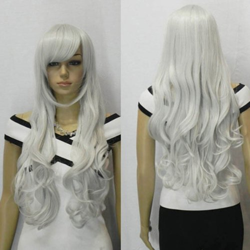 IMAGE 33 inch Silver White Curly Wig - Women Heat Resistant Long Head Wavy Hair Cosplay Wigs For Party -