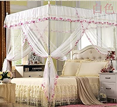 Elegant White Four Corner Bed Canopy Mosquito Net