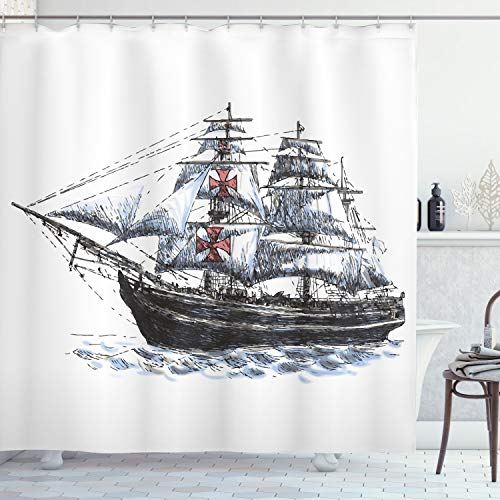 """Ambesonne Vintage Shower Curtain, Old Aged Columbus Ship Sailing in The Imaginary Atlantic Ocean Voyage Journey Print, Cloth Fabric Bathroom Decor Set with Hooks, 84"""" Long Extra, White Blue"""