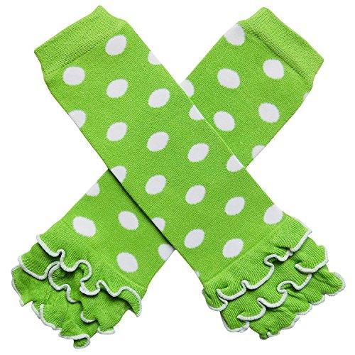 So Sydney Baby Toddler Little Girl Ruffle Bottom Polka Dot & Stripe Leg Warmers (Ruffle Dot Green with White)