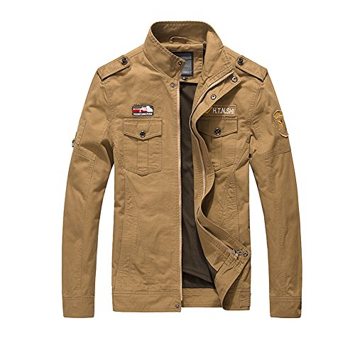 H.T.Niao Jacket9929C3 Men 's Fashion Military Jacket Cold(Khaki,Size XXL)