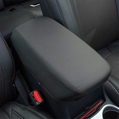 Kust Car Armrest Box Cover Saver,1 Piece Black Cover With Handmade Black Stitches Fit for 2015 2016 Jeep Cherokee,Central Console Armrest Box