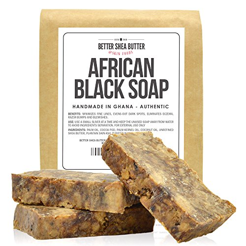 Butter Soap Shea African Black (African Black Soap by Better Shea Butter - Use as a Face Wash, Body Wash or Shampoo - Free of Fragrances or Chemicals - 100% Natural and Handmade According to African Tradition - 1 lb (16 oz))