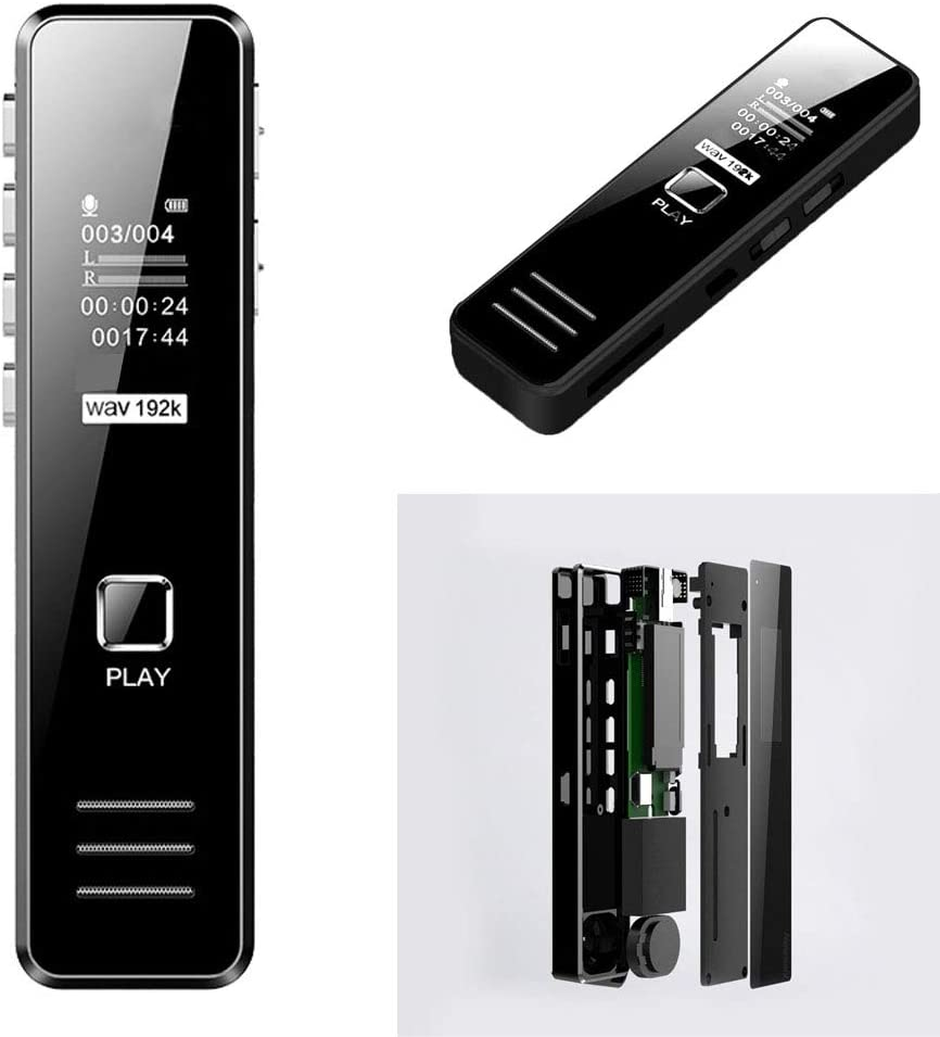 Digital Voice Recorder USB Noise Reduction HD Voice Recorder MP3 Player Pocket Dictation Machine for Lectures Meetings Interviews