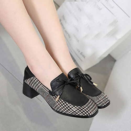 Pumps Oxford Shoes GIY Womens Penny Classic Loafers On Square Block Tassel Toe Heel Slip Dress Loafer Black qqtFHp