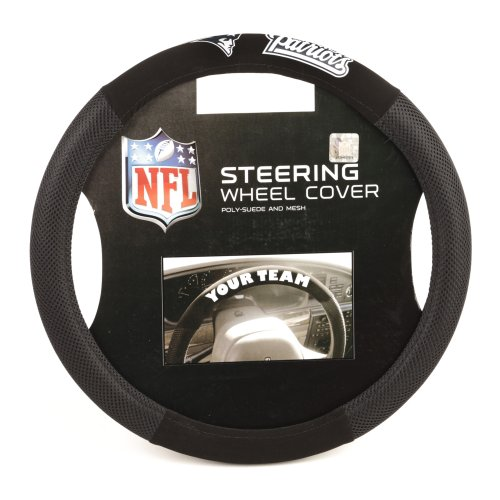 Fremont Die NFL New England Patriots Poly-Suede Steering Wheel Cover