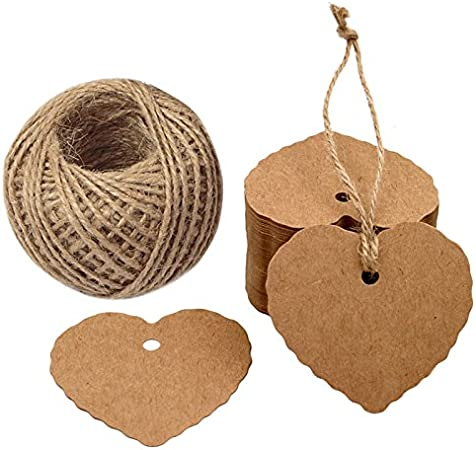 DIYASY 200pcs Kraft Gift Tags,Paper Tags Lovely Hollow Heart 3 Shape Hang Lable Wedding Favor Tags with 64 Feet Jute Twine and Cotton String Brown and White