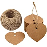 Heart Paper Tags, G2PLUS 100PCS Kraft Paper Gift Tags Wedding Favor Kraft Hang Tag Bonbonniere Favor Gift Tags with Jute Twine 30 Meters Long for Mother's Day, DIY Crafts & Price Tags
