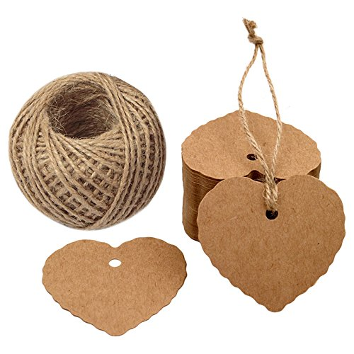 Tags Vintage Valentine - Valentine's Day Tags,100PCS Kraft Paper Gift Tags Heart Paper Tags with Jute Twine 30 Meters Long for DIY Crafts & Price Tags,Valentine,Wedding and Party Favor