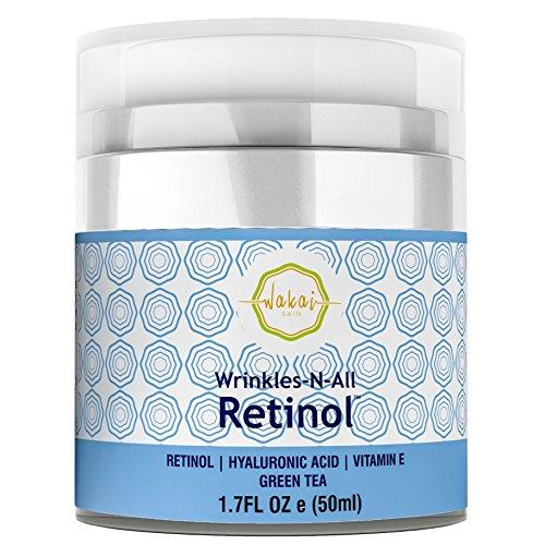Wrinkles-N-All Retinol Moisturizer Cream For Men & Women By Wakai Skin | Anti Aging Facial Moisturizing Cream With Hyaluronic Acid, Green Tea & Vitamin E | Soothing & Firming Hydration (Impress Moisture Pack)