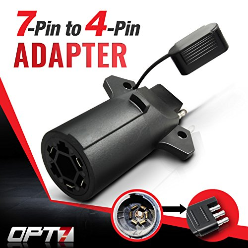 OPT7 Weatherproof 7 Way Flat Blade to 4 Way Pin Adapter w/Secure Tab - for Trailer Tow Hitch and Redline Tailgate - Trailer Connector Light