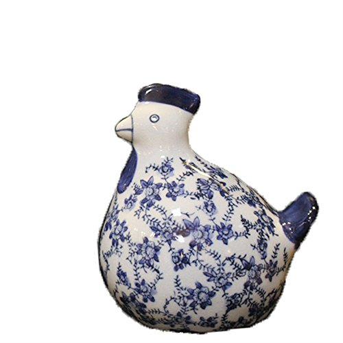 BWLZSP Classical Chinese craft ornaments ceramic chicken blue and white porcelain antique open piece auspicious for chicken LU619135 (Color : S) from BWLZSP