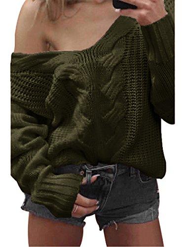 Maglia Donna in Maniche Mae Maglione Girocollo Casuale Summer Pullover Lunghe Verde H8Bzqq