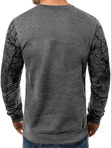 Uomo Sportivo ozonee Dd652 Pullover Abbigliamento Js Scuro Streetwear Intestazione Maniche Grigio A Maglia js Lunghe Moderno Ozonee dqC0TwT