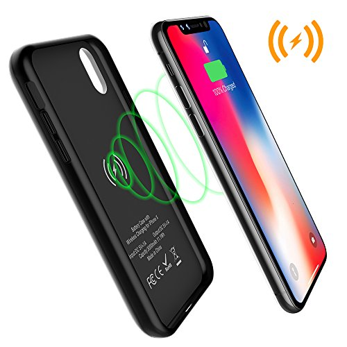 iPhone X Battery Case with Qi Wireless Charging, ALLEASA 3000mAh Rechargeable Extended Protective Battery Pack Charging Case [Lightning Port] for iPhone X (5.8 inch)–Black