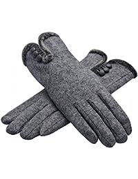 Women's Three Buttons Winter Warm Wool Gloves