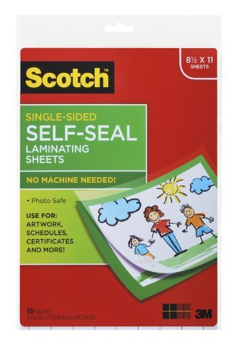 Scotch® Laminating Sheets LS854SS-10, 9 Inches x 12 Inches, Letter Size, Single Sided