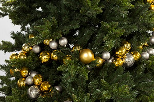 15 ft. Christmas Ornament Ball Garland, Extra Long - mixed size and finish x 139 balls, Gold & Silver - 139 Finishes