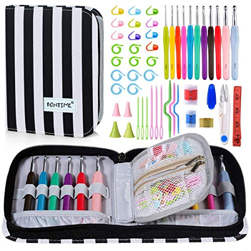BONTIME Crochet Hooks Set - 11 Pieces Ergonomic Crochet Hooks with Portable Case, Contains All The Crochet Accessories Fit Any Projects, Ideal for Crocheters with Arthritic, Grey ()